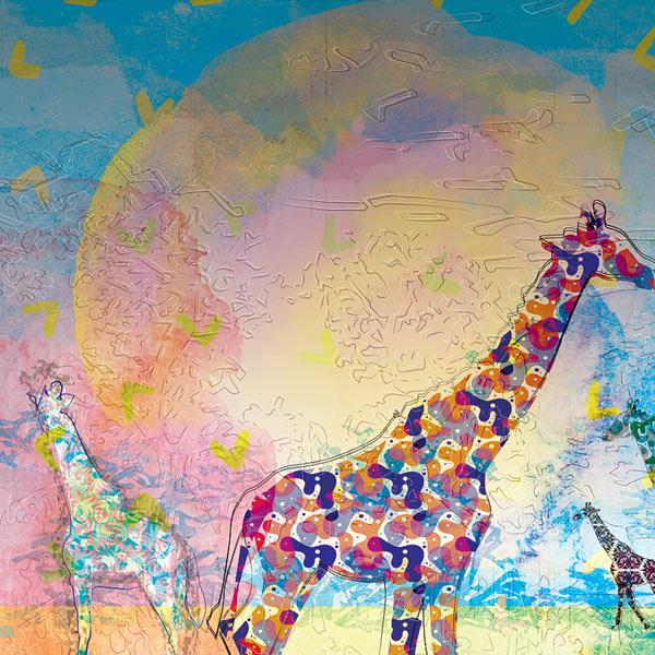 Sun behind giraffes