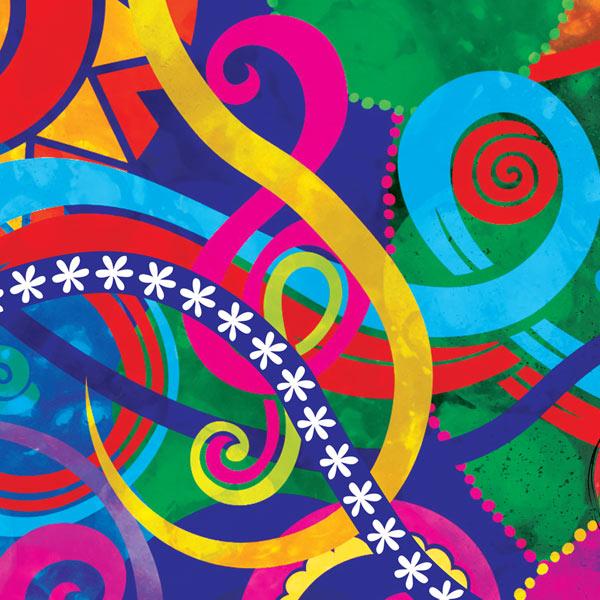 La Berry Bamba music notes and ribbons